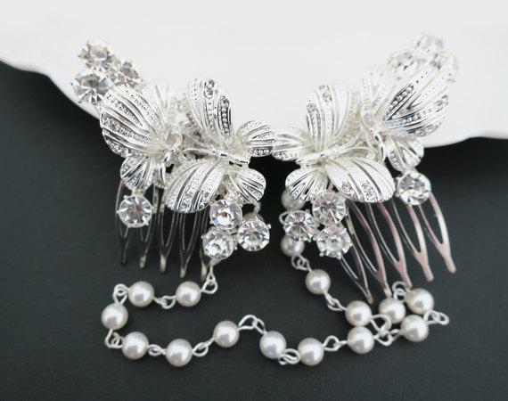 bridal headpiece butterfly hair comb wedding hair piece crystal pearl hair comb wedding headpiece vintage summer wedding bride hair