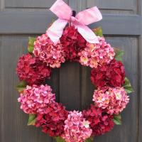 Valentine Wreath, Red & Pink Hydrangea Wreath For