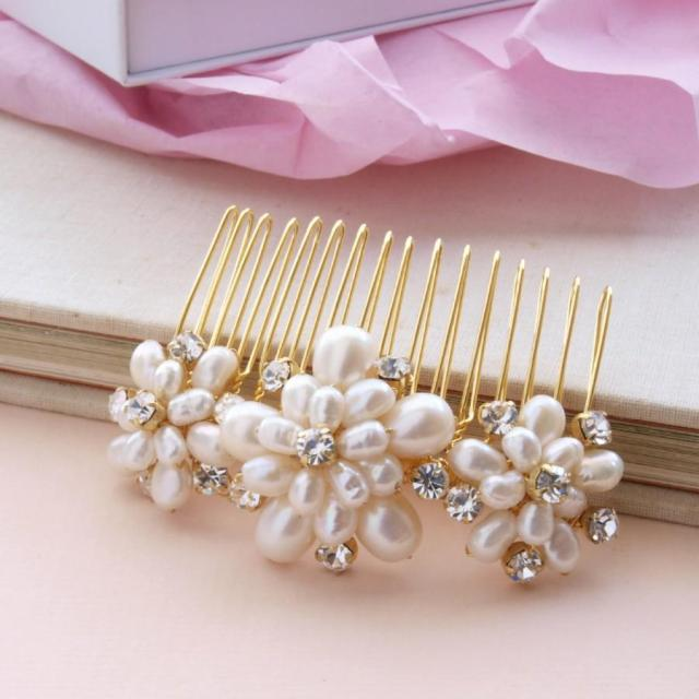 wedding pearl hair comb gold bridal hair accessories ivory