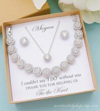 Bridesmaid Gift, Bridesmaid Jewelry Set, Bridesmaid Round ...
