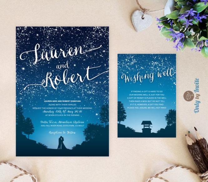 Starry Night Wedding Invitation And Wishing Well Card