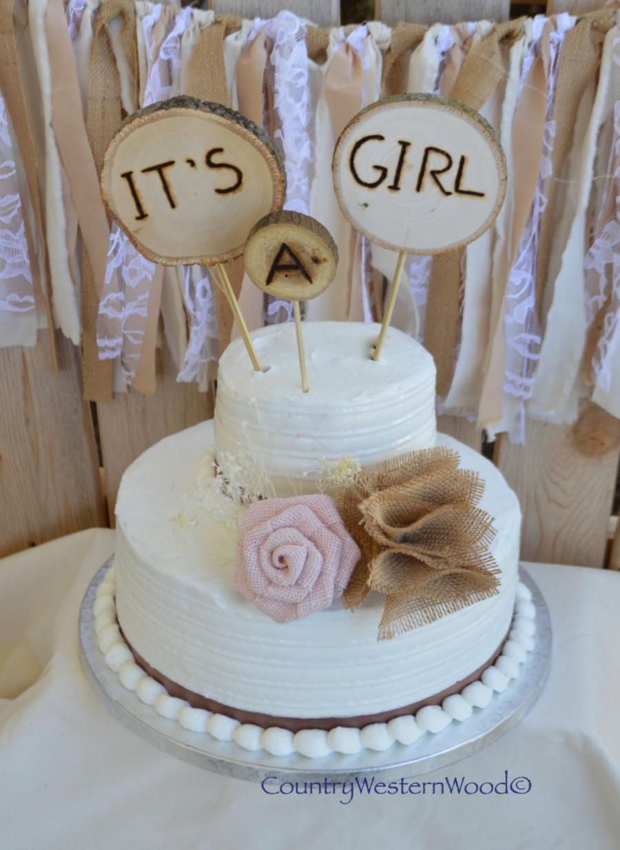Rustic Baby Shower Cakes : rustic, shower, cakes, Rustic, Topper,, Shower, Burlap, #2658333, Weddbook