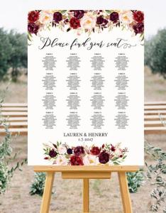 Printable wedding seating chart template floral alphabetical burgundy rose plan up to table poster pdf instant download also rh weddbook