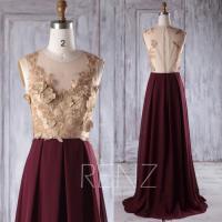 2016 Rose Gold Lace Bridesmaid Dress Long, Wine Chiffon ...