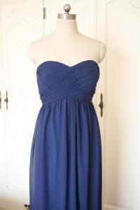 Navy Blue Sweetheart Short/Floor-length Bridesmaid Dress ...