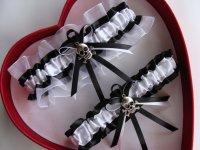 Wedding Garter, Black ,White Wedding Garter Set, Select ...