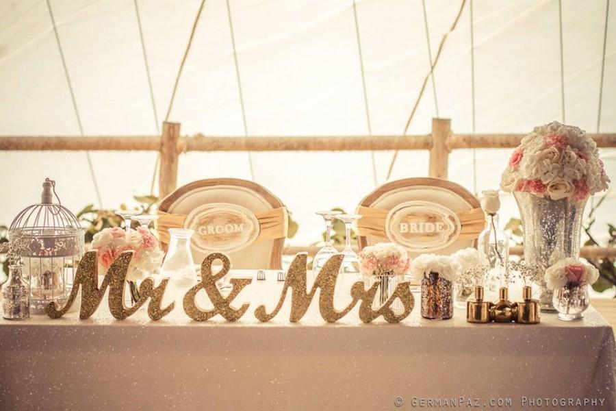 Metallic Vintage Gold Or Custom Mr And Mrs Sign Wedding
