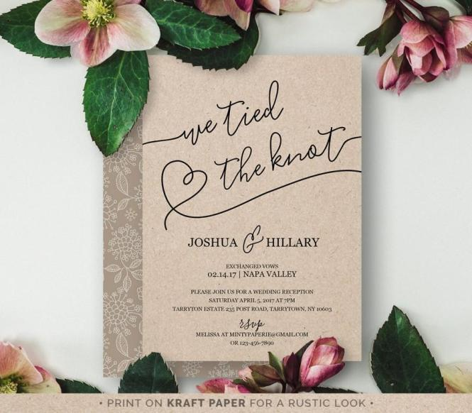 Printable Elope Announcement We Tied The Knot Rustic