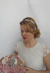 Birdcage Veil Headband, Blusher Birdcage Veil, Wedding ...