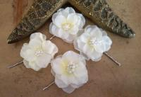 Wedding Hair Flowers, Ivory Hairpiece, Bridal Flower ...