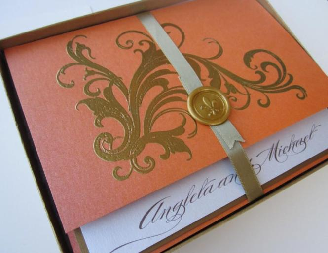 Tangerine Vintage Wedding Invitation Boxed Marie Antoinette