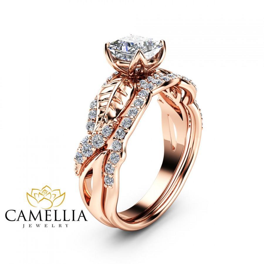 Moissanite Wedding Engagement Ring Set 14K Rose Gold