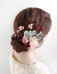 Bridal Hair Accessories, Burgundy Wedding Hair Clip ...