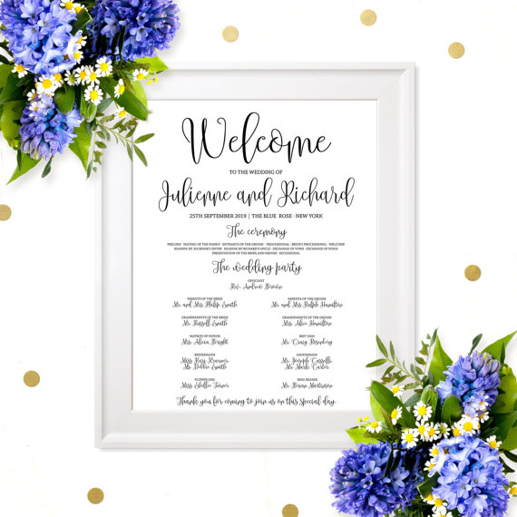 wedding program sign poster chic calligraphy wedding program poster diy printable affordable wedding program board ceremony order poster 2669911 weddbook