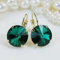 Emerald Earrings Green Swarovski Crystal Drop Gold ...