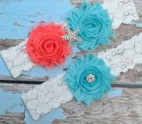 GARTER / Beach Wedding Garter / Aqua Coral Garter Set
