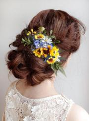 sunflower hair comb royal blue