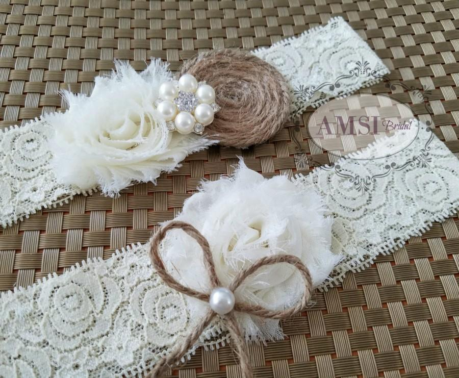Rustic Wedding Garter Set, Ivory Garter,Bridal Belt,Ivory