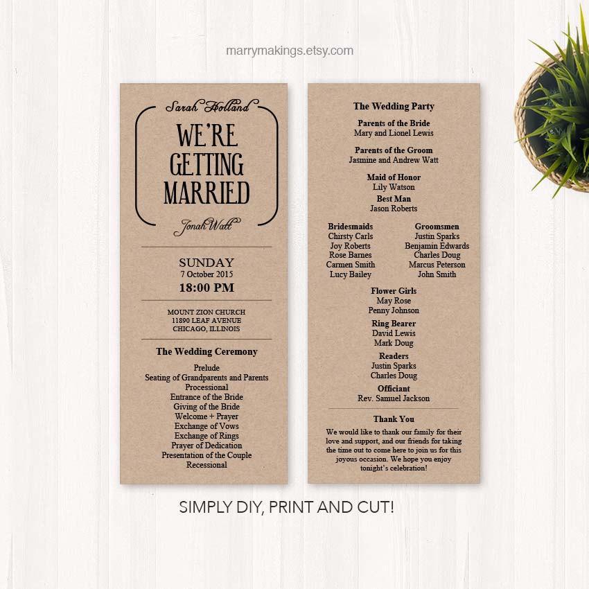 Diy Wedding Program Wedding Programs Program Wedding