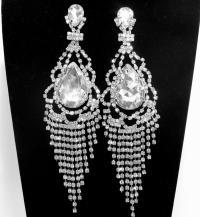 Art Deco Rhinestone Bridal Earrings FREE SHIPPING Long ...