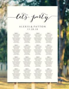 Let   party wedding seating chart template in four sizes sign poster diy printable reception usd also rh dedbook