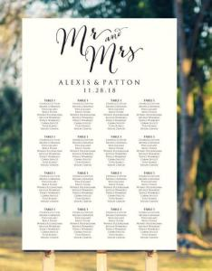 Mr and mrs wedding seating chart template in four sizes sign poster diy printable reception usd also rh dedbook