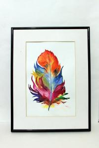 Feather Original Watercolor Painting Handmade Colorful