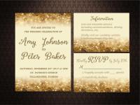 Gold Glitter Wedding Invitation Set Printable, Wedding ...
