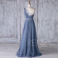 2017 Steel Blue Chiffon Bridesmaid Dress With Lace, One ...