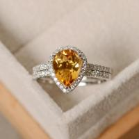Pear Citrine Ring, Engagement Ring, Sterling Silver ...