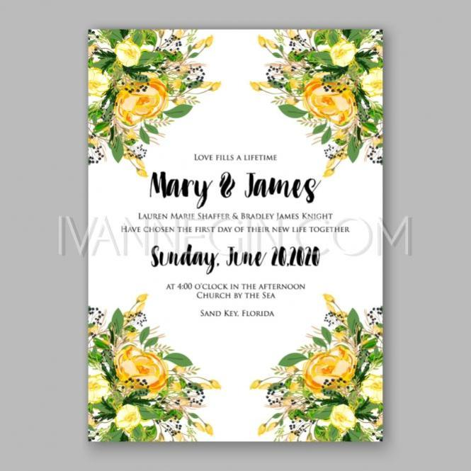 Wedding Invitation Card Template Yellow