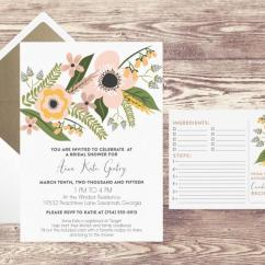 Kitchen Bridal Shower Quality Brand Cabinets Printed Invitation With Recipe Card And Gold Envelope Liner Cards For Wedding