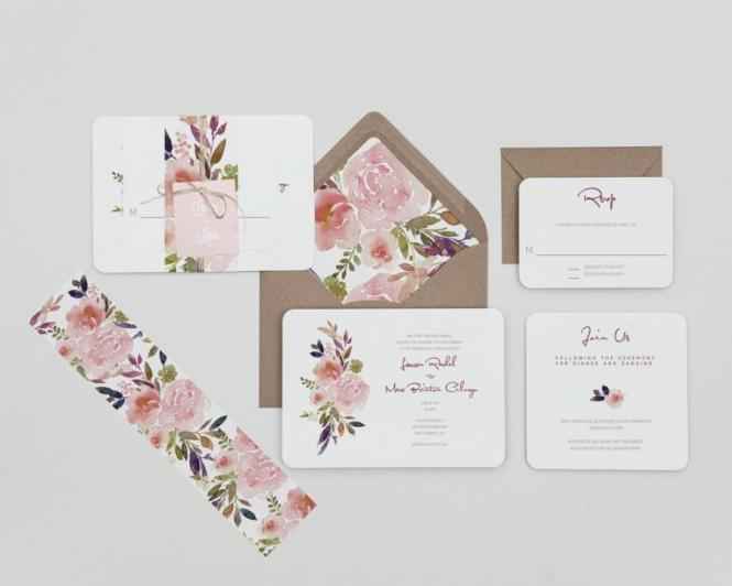 Blush Fl Wedding Invitations