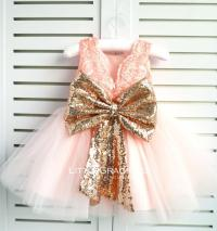 Rose Gold Lace Back Couture Flower Girl Dress, Toddler ...