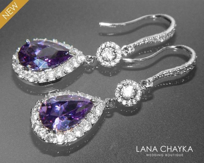 Amethyst Crystal Chandelier Earrings Purple Cz Bridal Teardrop Sparkly Halo Wedding Earring Prom Jewelry 38 50 Usd
