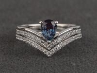 Alexandrite Rings Color Engagement Ring Set Pear Cut ...