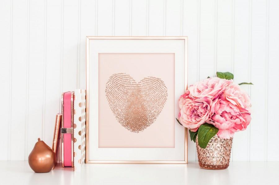 REAL FOIL Rose Gold And Blush Pink Thumbprint Heart