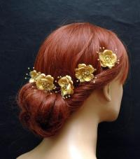 Gold Silk Flower Hair Pins, Wedding Hair Accessories, Set