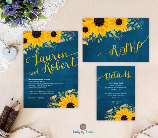 Sunflower Wedding Invitation Packages Invites Rsvp