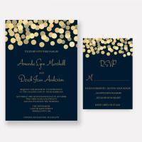 Navy And Gold Wedding Invitations, Gold Glitter Confetti ...