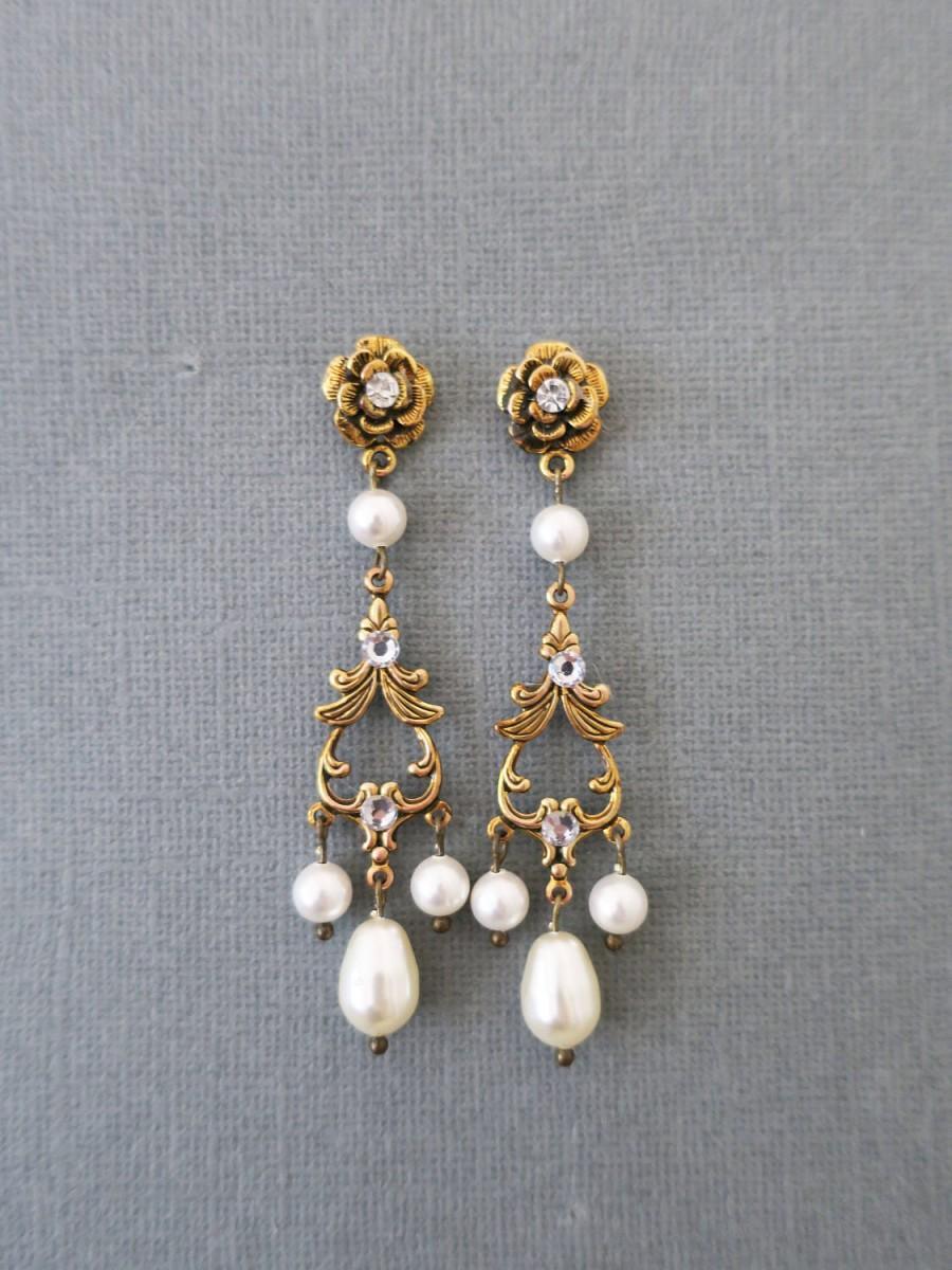 Gold Bridal Earrings Pearl Chandelier Earrings Wedding