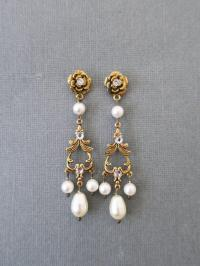 Gold Bridal Earrings Pearl Chandelier Earrings Wedding
