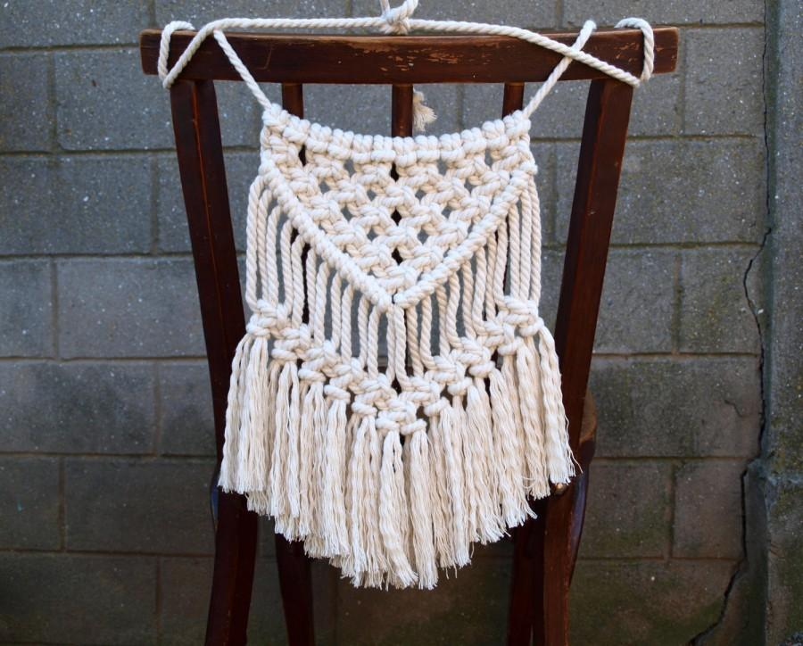 white bohemian hanging chair office desk chairs target boho wedding decor back decoration small macrame wall beach house 15 00 usd