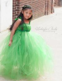 Emerald Green Tulle Flower Girl Dress, Green Junior ...