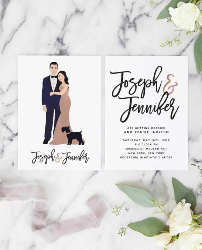 Rose Gold Wedding Invitations With Portrait For