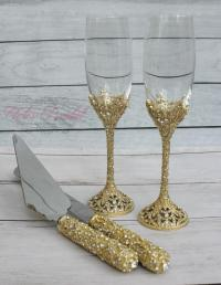 Swarovski Crystal Wedding Toast Set, Champagne Glasses