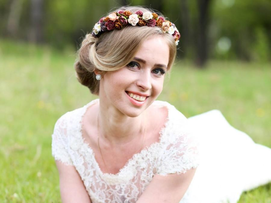 brown bridal crown floral