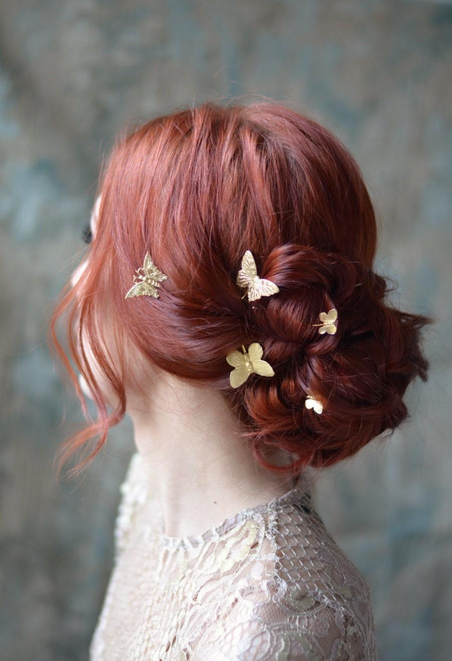 Butterfly Bobby Pins Golden Hair Pins Gilded Hair Clips
