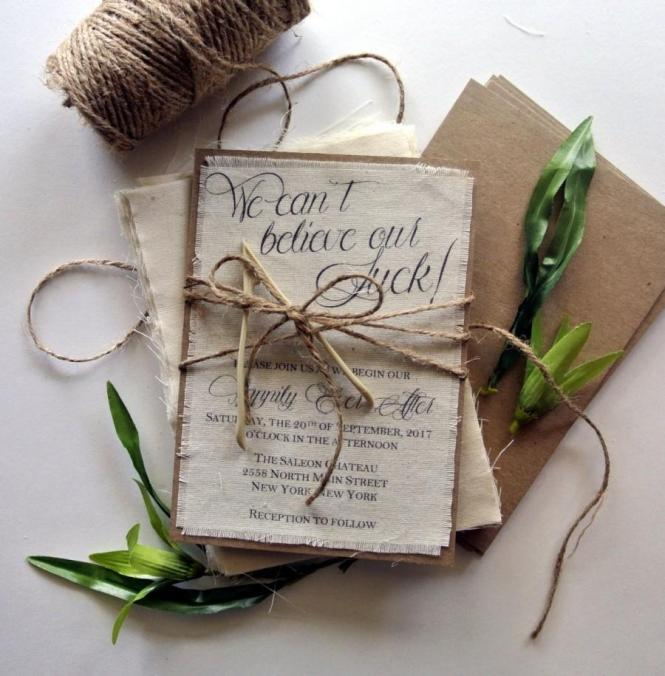 Rustic Wedding Invitation Lucky Wishbone