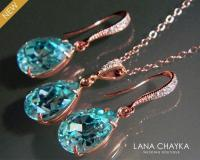 Light Turquoise Rose Gold Jewelry Set Teal Pink Gold ...